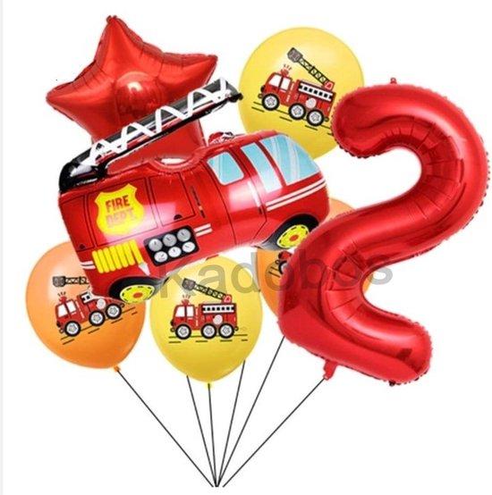 Brandweer ballonnen set 7 delig verjaardag 2 jaar - Brandweerwagen folie ballon