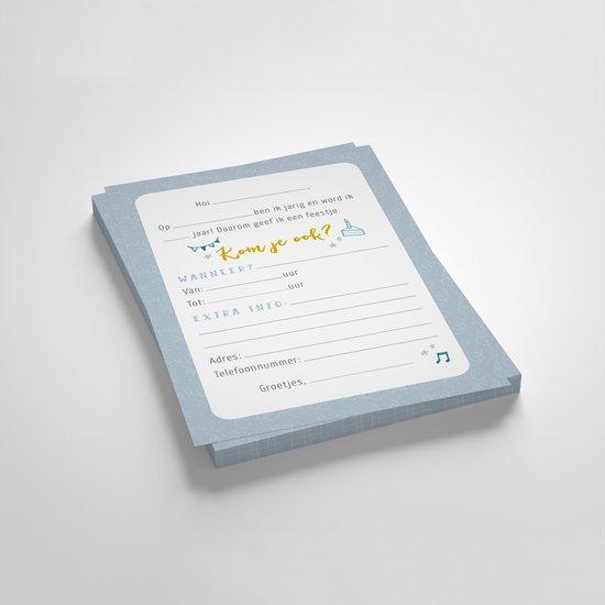 Uitnodigingen kinderfeestje - blauw / jongen - set van 10 inclusief enveloppen - A6