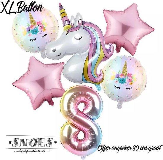 * Snoes * Unicorn * Eenhoorn Licht Roze* Set van 6 Ballonnen XL * Unicorn Nummer 8 * Achtste verjaardag * Hoera 8 Jaar * Birthday