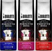 Bialetti Perfetto Moka Koffie proefpakket - 3 x 250 gram - Classico, Delicato en Intenso