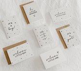 7x hippe geboorte kaartjes (A6 formaat) - kaartjes om te versturen - kaartenset - kaartjes blanco - kaartjes met tekst