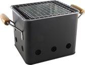 Mini Barbecue - Balkon - Terras - Tuin BBQ - Tafel Barbecue - 18x15.5x15.5cm - Staal - Zwart - Houten Handvatten