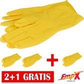 EmpX - 2+1 gratis Herbruikbare Rubberen Handschoenen  Large - Geel Latex - voor verven, afwassen en klussen - Herbruikbaar Huishoudhandschoenen maat L - Waterdicht Rubberen handschoenen