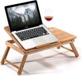 AWEMOZ® Laptoptafel - Laptop Standaard - Bamboe Hout - Bedtafel - Laptopstandaard - Computertafel - Klaptafel - Laptop Verhoger - Bijzettafel - L