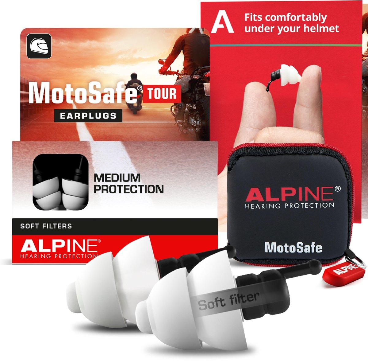 Alpine Motosafe Tour - Motor oordoppen - Gehoorbescherming Tour - Wit - 1 set