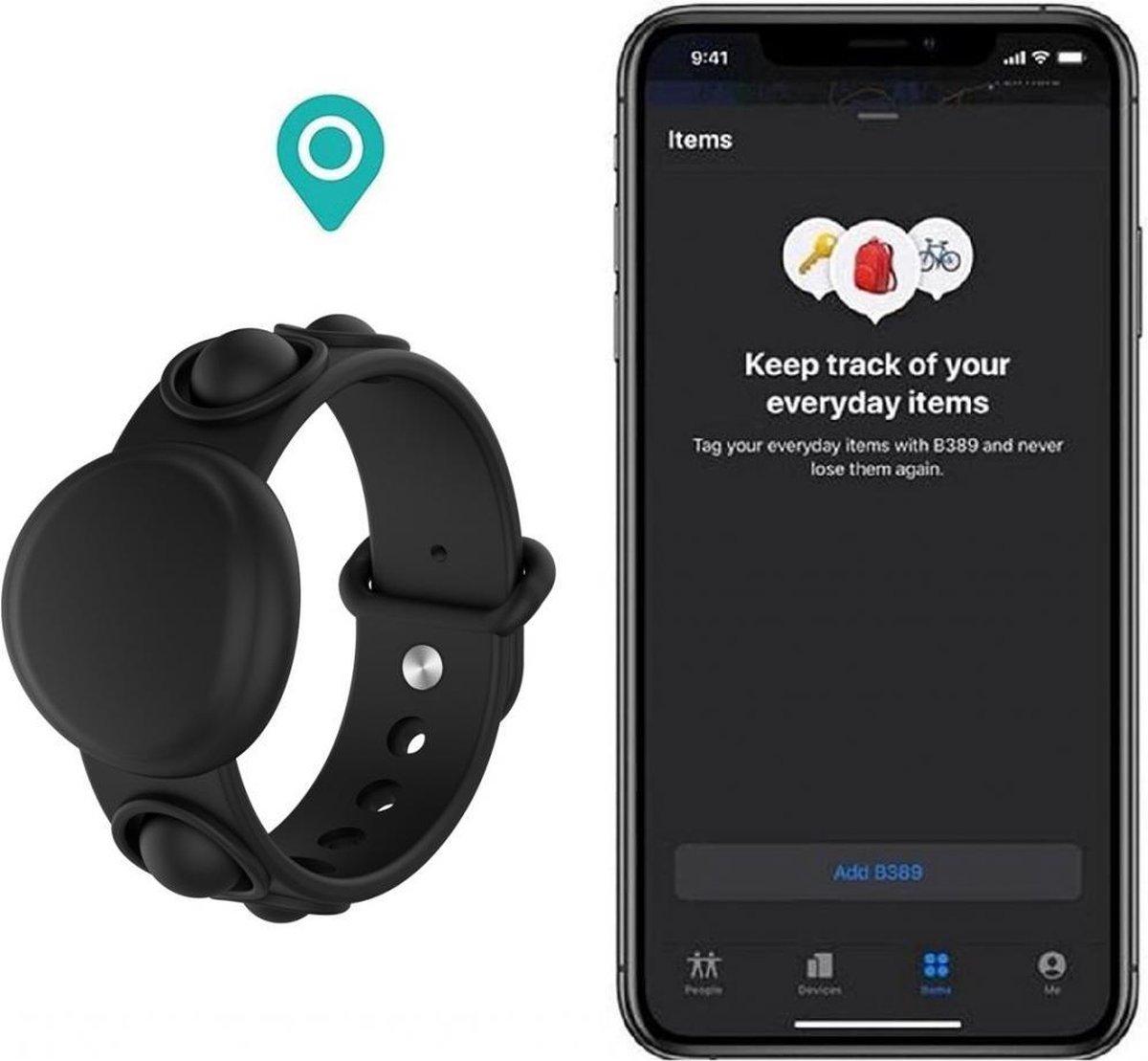 Luxe Siliconen Kinder Armband Voor Apple Airtag Tracker - Case Horloge Bandje Polsband Strap - Horloge Band - Watchband - Horlogeband - Zweet & Weerbestendig - Kids Tracker - Zwart