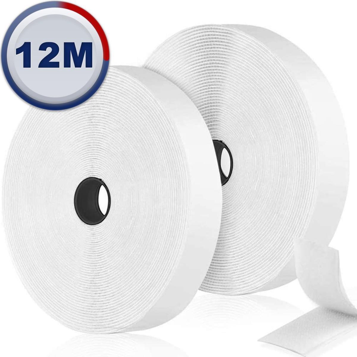 AWEMOZ  Klittenband Zelfklevend - Witte Velcro - Klussen - 2 x 12 m Velcro Tape - 2 cm breed