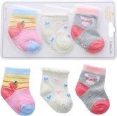 Newborn Sokjes Meisjes - Baby Sokjes 0-6 maanden - 3 Stuks