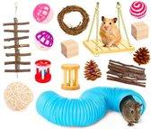 Allerion Knaagdieren Speelgoed Set – 15-delig – Voor Konijn, Cavia, Ratten, Vogels – Hout en Kunststof