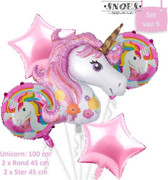 Eenhoorn * Set van 5 * 100 cm Unicorn * Ballonnen pakket * Magical * Snoes * Eenhoorn Feest * Unicorn Verjaardag