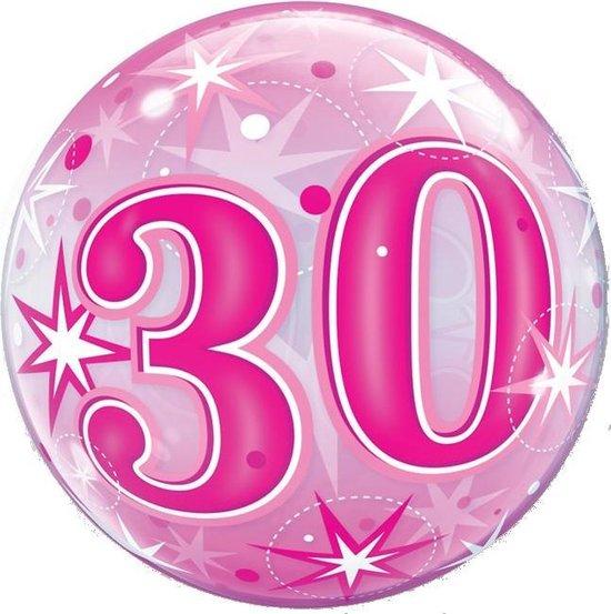 Folat Ballon 30 Jaar Bubbles 56 Cm Latex Roze