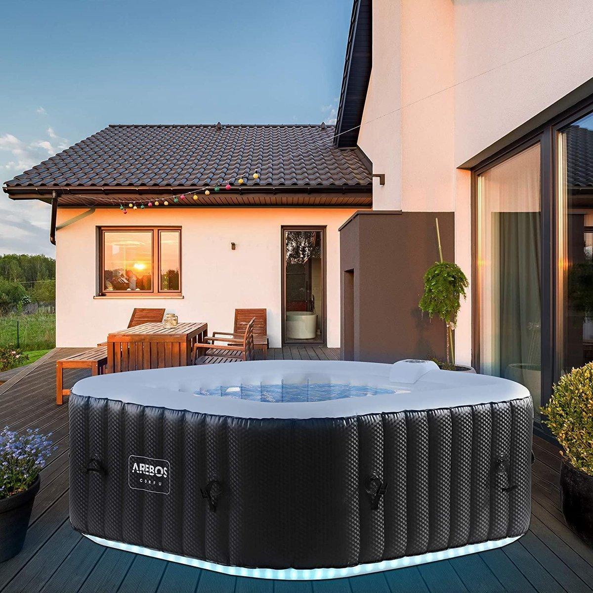 |bubbelbad|jacuzzi opblaasbaar|jacuzzi|Whirlpool CORFU met LED-verlichting | 6 kleuren | opblaasbaar | vierkant | binnen en buiten | 4 personen | 100 massagejets | met verwarming | 600 l liter | incl. afdekking | Bubble Spa & Wellness Massage
