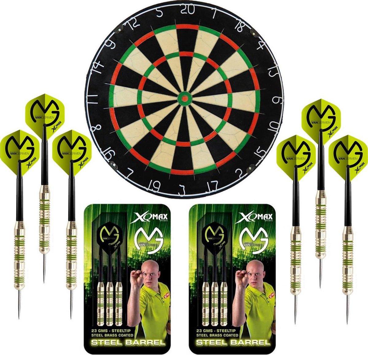 Dragon Darts Michael van Gerwen Octane set - dartbord - 2 sets - dartpijlen - dart shafts - dart flights - Plain A-Merk XQ dartbord