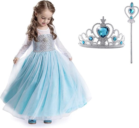 Carnavalskleding - Frozen -Elsa Jurk Sleep - Prinsessenjurk Meisje - maat 98/104 (110) - Verkleedkleren Meisje -