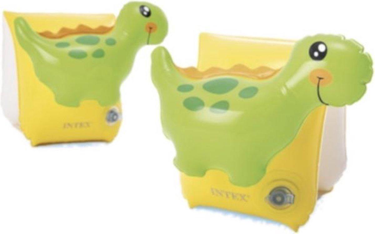 Intex zwembandjes 3D Dino - 1-6 jaar - collectie 2021 - new collection - zwembandjes - zwemmen - zwembad - vakantie - strand - baby - dreumes - peuter - kleuter - Dino - zwembandjes groen/geel - zwemvleugels