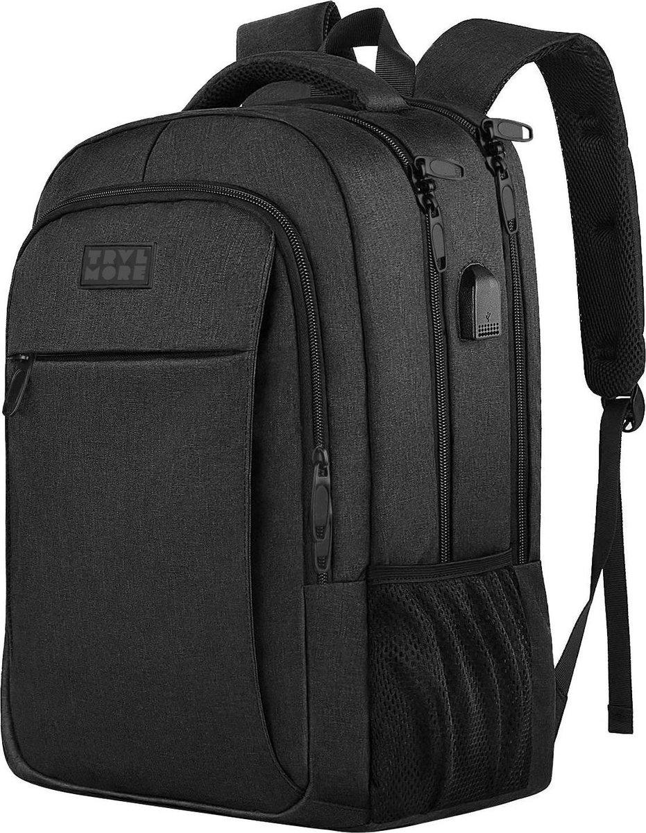 TravelMore Daily Carry Backpack - 15,6 inch Laptop Rugzak - Dames/Heren - 28L - Waterafstotend - Zwa