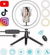 LED Ringlamp met Statief en Telefoonhouder - incl. Bluetooth Afstandsbediening - Selfie Ring Light - Ringlight  - Make Up Licht - Flitser - Studiolamp - ⌀ 26cm - Zwart