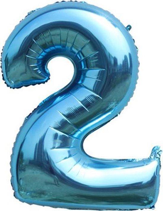 Ballonnen 2 jaar cijfer ballon Babydouche - blauw folie helium - 100cm - blauwe verjaardag versiering