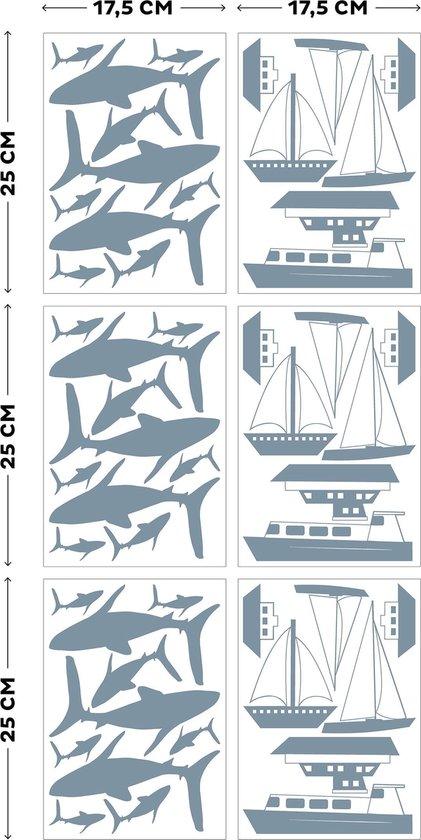Art for the Home - Muurstickers - Nautisch - Blauw - 6 x 25x18cm