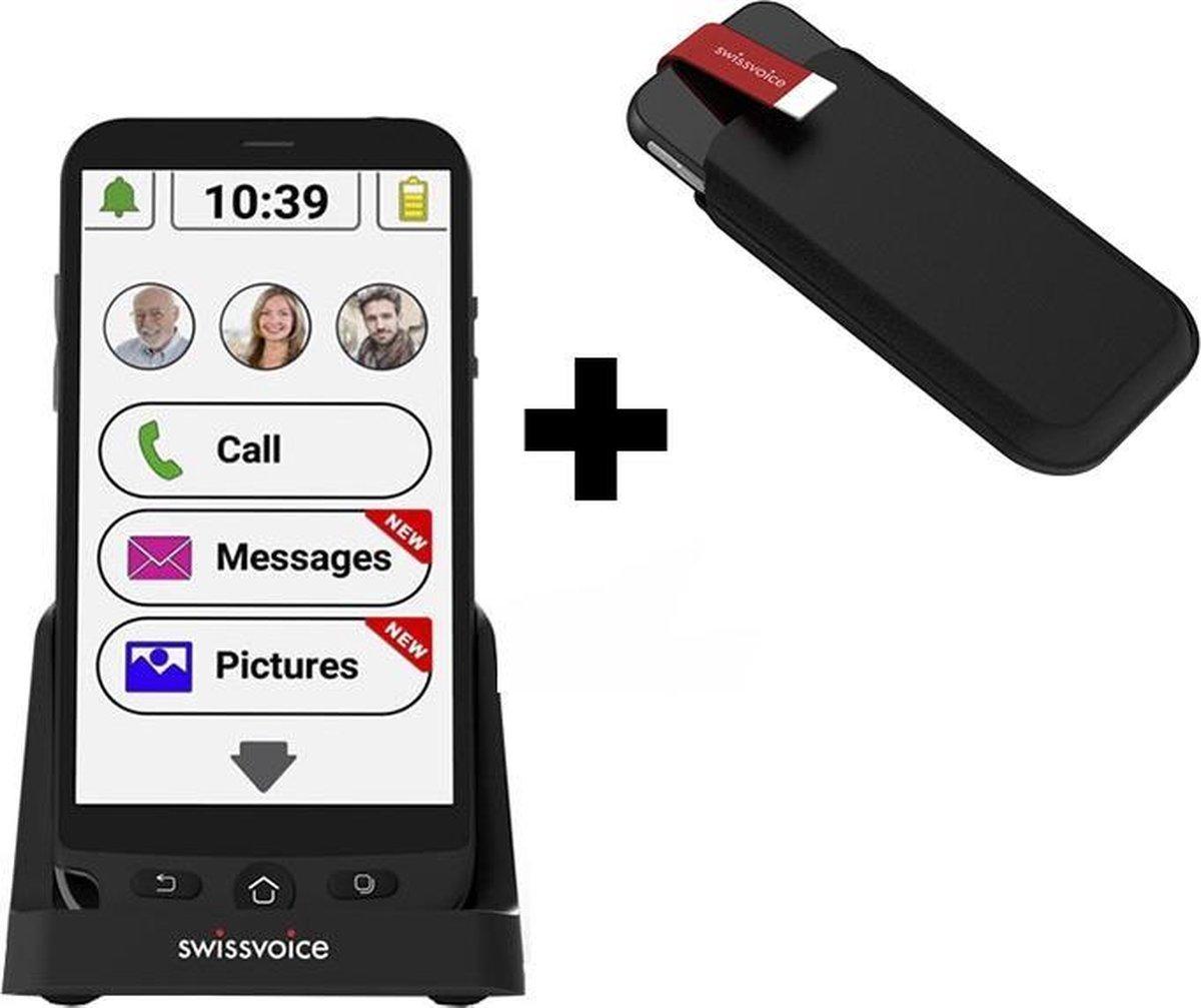 SwissVoice | G50 Senioren Smartphone | eenvoudig opladen | geschikt voor iedere provider|gratis insteek hoes