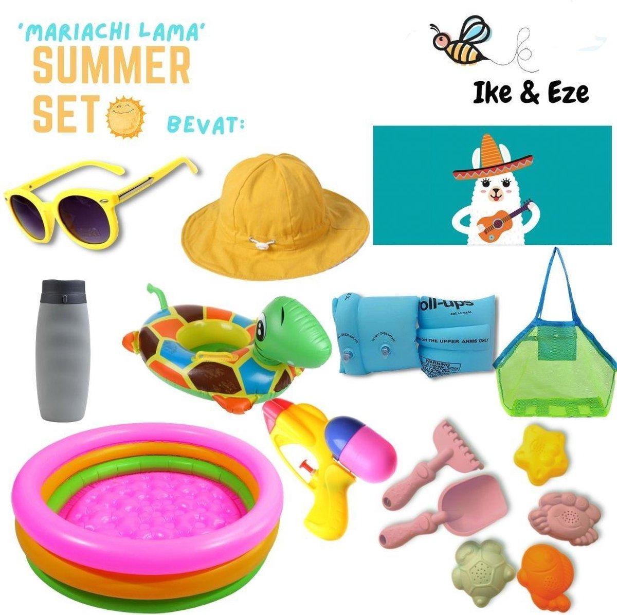 'Mariachi Lama' Summer Set - Zomer Set - Strandlaken - strandtas - drinkfles - zonnebril - zon hoedje - opblaasbaar zwembad, zwembandjes en zwemband - zandvormpjes - schepje - hakje - waterpistooltje