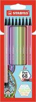 STABILO Pen 68 - Premium Viltstift - Nieuwe Kleuren - Etui Met 8 kleuren