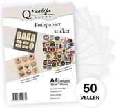 Q'ualife® Stickervellen – Sticker Papier voor Printer – Sticker Papier A4 – Foto Papier – Papier Zelfklevend 50 vellen – Glossy finish