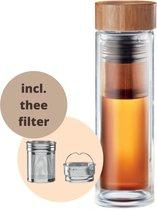 Thee fles bamboe/bamboo 420 ml - Theefles dubbelwandig met zeef/tea infuser/filter - Theebeker to go voor onderweg - Thee beker onderweg - Tea bottle - Thee to go thermos drinkfles - Thee infuser fles - Theefles infuser - Theeglas met filter