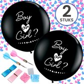 Partizzle® 2x Boy or Girl Gender Reveal Party Ballon Set 90 cm - Babyshower Versiering Ballonnen - Geslacht Bekend Maken - Zwart