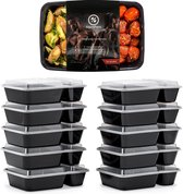Meal Prep Bakjes - 10 stuks - 2 compartimenten - Lunchbox - Diepvriesbakjes - Vershoudbakjes - Plastic Bakjes Met Deksel - Magnetron Bakjes Met Deksel - Meal Prep - Vershouddoos - 1L - BPA vrij – Fitcrafters - Zwart