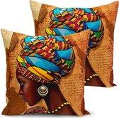 Kussenhoes 2 stuks - Afrikaanse vrouw - 45x45 - kussensloop - Enkelzijdig bedrukt