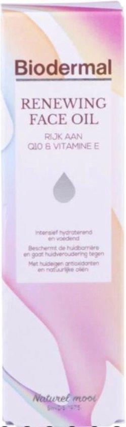 Biodermal Renewing Face Oil – Gezichtsolie met krachtige huideigen antioxidanten Q10 - Perfect te mengen met dagcreme - 30ml