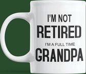 Mok - I'm not retired I am a full time grandpa - cadeau - opa- pensioen mok - beker - kado oude 300 ml