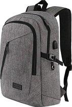 TravelMore Slim Fit Backpack - 15,6 inch Laptop Rugzak - Dames/Heren - 25L - Waterafstotend - Grijs