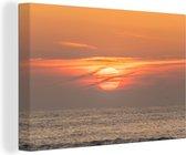 Zonsondergang in de zee Canvas 30x20 cm - klein - Foto print op Canvas schilderij (Wanddecoratie woonkamer / slaapkamer)
