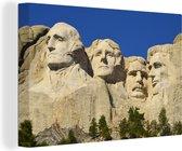 Noord-Amerikaanse monument Mount Rushmore met een donkerblauwe hemel Canvas 180x120 cm - Foto print op Canvas schilderij (Wanddecoratie woonkamer / slaapkamer) XXL / Groot formaat!