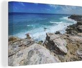Kustlijn van het Noord-Amerikaanse Isla Mujeres met heldere zee Canvas 90x60 cm - Foto print op Canvas schilderij (Wanddecoratie woonkamer / slaapkamer)