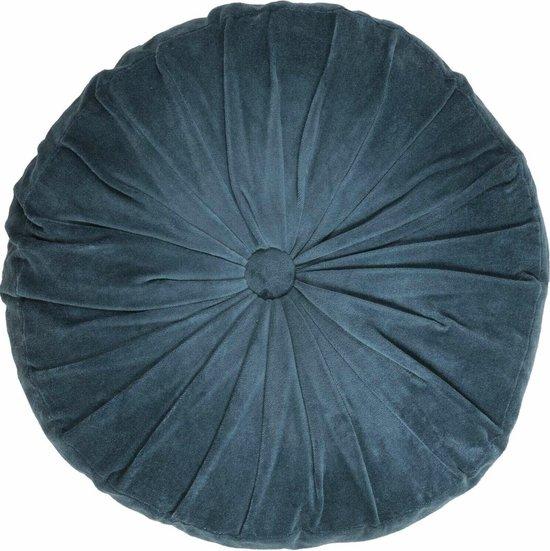 Home67 - Cotton Velvet Nola - Sierkussen - Rond - Petrol blauw - ø 45x45 cm