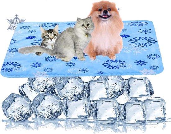 Koelmat voor Honden en Katten – koelkussen met gel - Verkoelende Mat - Cooling Mat – 65 x 50 cm - Blauw/sneeuwvlok