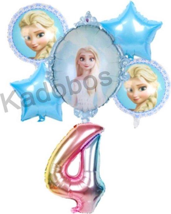 Frozen ballonnen set verjaardag 4 jaar - folie ballon Elsa 6 delig