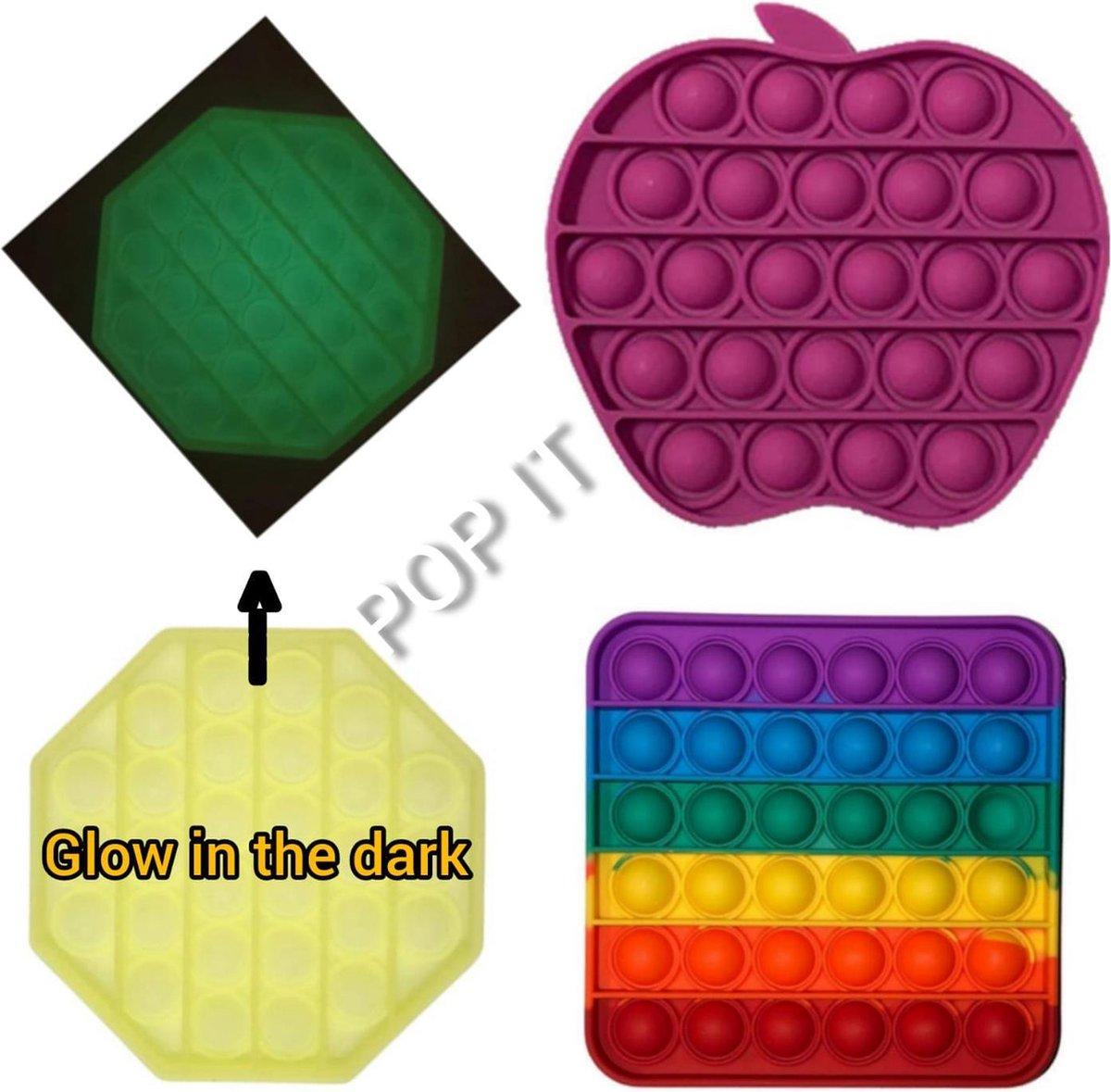 Fidget toys | Pop it van 3 stuks | Achthoek glow in the dark + Regenboog rainbow vierkant + Appel paars | Anti stress 2021 _ Verjaardag cadeautip _ leuk voor zwembad
