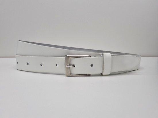 Lederen riem 3 cm breed - Zilver gesp - Leren Broekriem - Pantalon breedte - 110 cm Egaal leer - kleur Wit