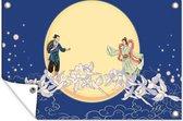 Tuinposter Chinese mythologie - Qixi festival 60x40 cm - Tuindoek/Buitencanvas/Schilderijen voor buiten (tuin decoratie)