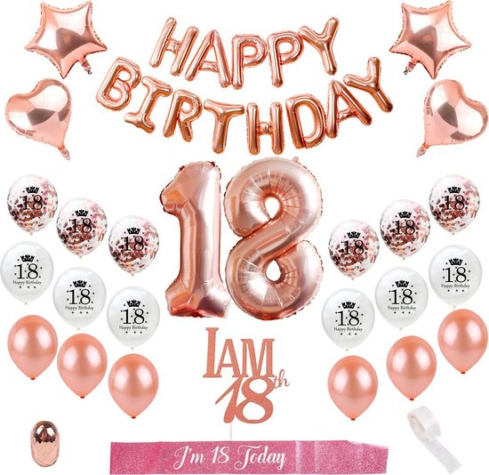 18 Jaar Verjaardag Versiering - Rosé Goud Versiering - Compleet pakket 27 stuks - Helium, Latex & Feest Ballonnen