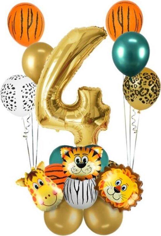 Dieren ballon - 4 jaar - Kinderfeestje - Vier jaar - Verjaardagfeest - ballonnen pakket - Kinderfeestje pakket - Dieren ballonnen pakket - Jungle