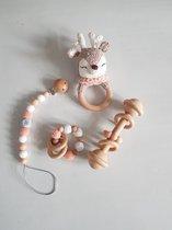 baby gift set - baby speelgoed - kraam kado - new born - rammelaar - bijtring - speenkoord - houten speelgoed
