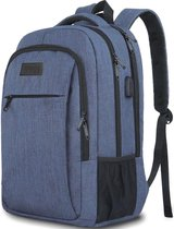 TravelMore Daily Carry Backpack - 15,6 inch Laptop Rugzak - Dames/Heren - 28L - Waterafstotend - Blauw