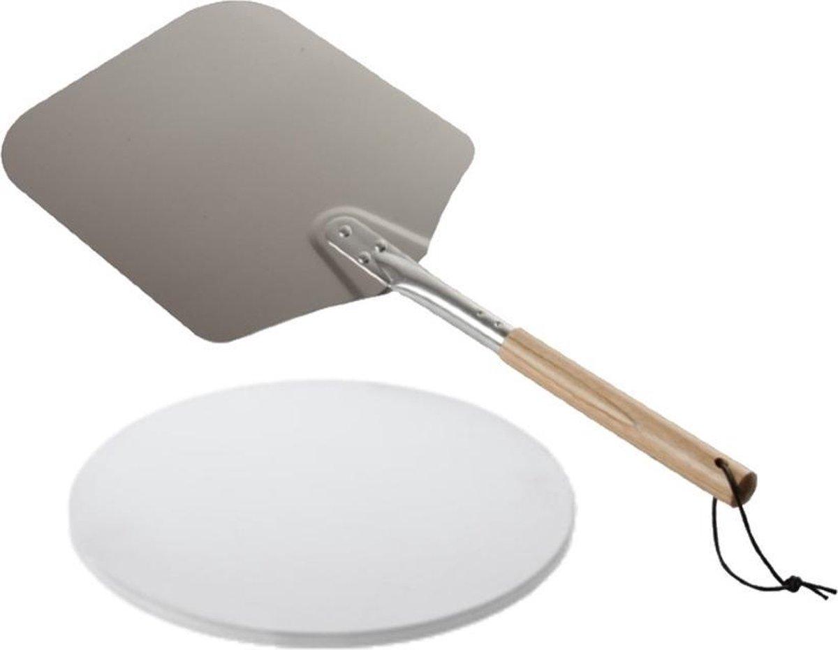 """Pizzasteen Compact 15"""" - 29,5cm - met Pizzaschep - Pizzabundel - Barbecue accessoires"""