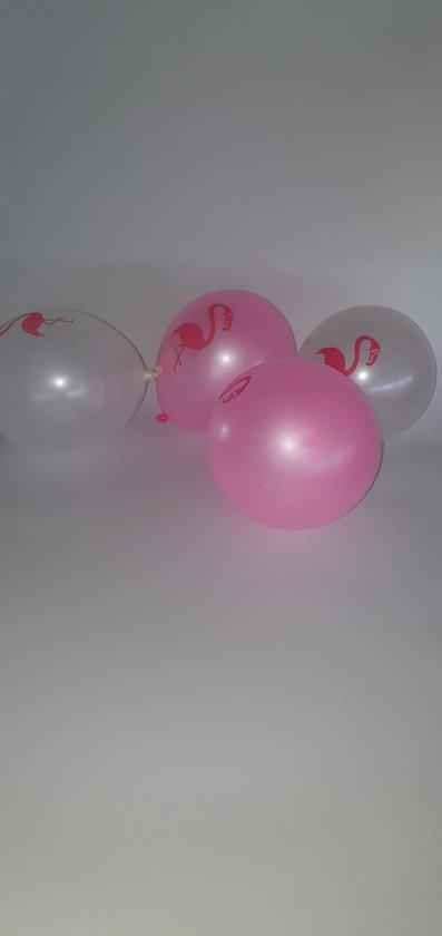 Flamingo ballonnen - Metallic roze wit - 10 Stuks