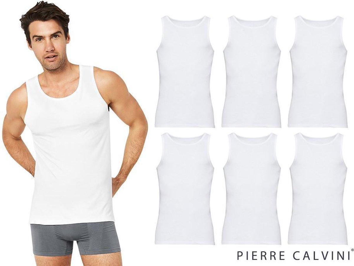 Pierre Calvini - Hemden Heren - Onderhemd Heren - 6-pack - 100% katoen - Wit - L